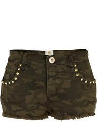 River Island Khaki Camo Print Stud Pocket Denim Shorts