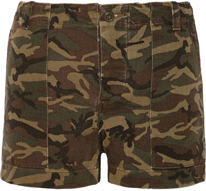 Nlst Camouflage Print Stretch Denim Shorts