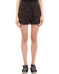 Yang Li Pleated Camouflage Jacquard Shorts Red Size 36