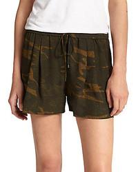 Haute Hippie Silk Camouflage Print Shorts