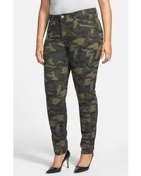 Dark Green Camouflage Skinny Pants