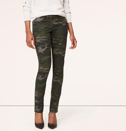 6b5e43e10c39b Camo Petite Print Tailored Twill Skinny Pants In Julie Fit