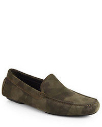 New york camo printed suede driving moccasins medium 33128