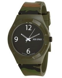 Jack Spade Camo Print Rubber Strap With Black Face Watche
