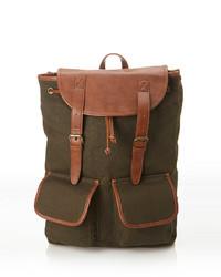 21men 21 Faux Leather Trimmed Backpack