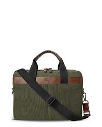 Dark Green Canvas Briefcase
