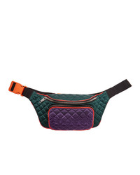 Balmain Green And Purple Quilted Silk Belt Bag