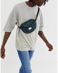 Spiral Platinum Bum Bag In Green Plaid