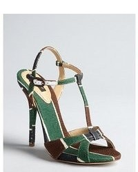 Dolce & Gabbana Green Brown And White Coated Canvas Heeled T Strap Sandals