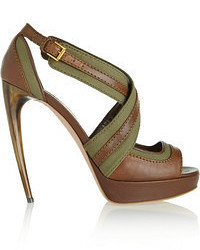 Leather and canvas sandals medium 54964
