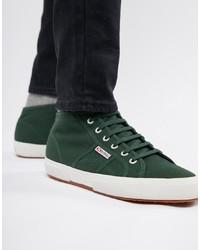 Superga 2754 Classic Hi Top Plimsolls In Green Canvas