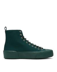 Jil Sander Green Canvas High Top Sneakers