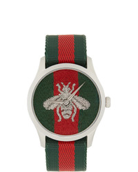 Gucci Silver G Timeless Web Bee Watch