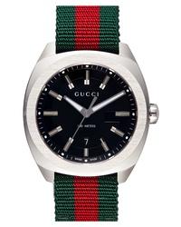 Gucci Stripe Fabric Strap Watch
