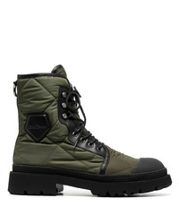 Salvatore Ferragamo Quilted Lace Up Combat Boots