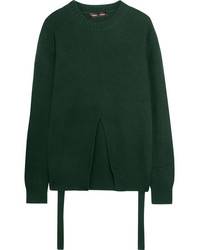 Proenza Schouler Split Front Wool Silk And Cashmere Blend Sweater Dark Green