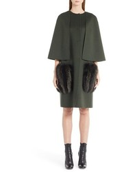 Fendi Wool Cape Coat With Genuine Fox Fur Pockets