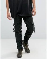 Asos Slim Cargo Pants With Side Tape In Dark Green