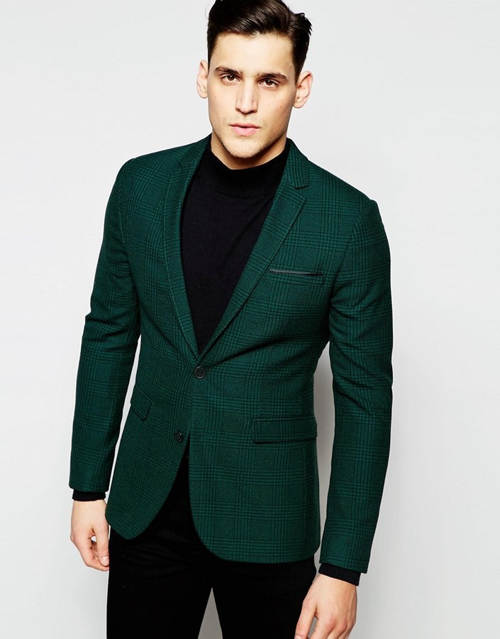 ... Asos Brand Super Skinny Blazer In Green Prince Of Wales Check ...