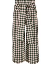 Silvia Tcherassi Salve Cropped Gingham Cotton Blend Wide Leg Pants