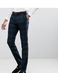 Twisted Tailor Super Skinny Suit Trousers In Green Check