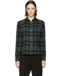Isabel Marant Green Wool Check Kessa Shirt