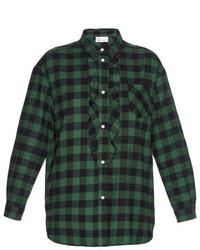 RED Valentino Redvalentino Frill Front Checked Cotton Shirt