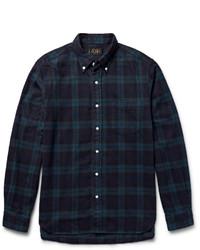 Dark Green Check Flannel Long Sleeve Shirt