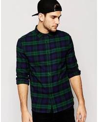 Dark Green Check Long Sleeve Shirt