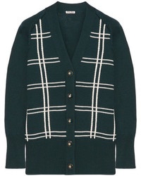 Oversized checked wool cardigan green medium 5083727