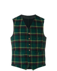 Dark Green Check Wool Waistcoat