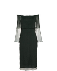 Beaufille Off The Shoulder Textured Chiffon Dress