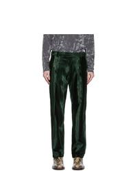 Dries Van Noten Green Patterned Trousers