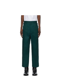 Jil Sander Green Pique Cropped Structured Trousers