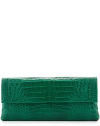 Gotham crocodile flap clutch bag green matte medium 524956