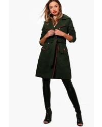 Boohoo Brooke Wool Look Belted Military Coat