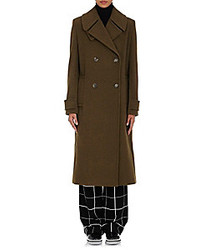 EACH X OTHER Double Breasted Wool Long Coat Dark Green