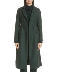 Lela Rose Seamed Wool Twill Three Quarter Coat
