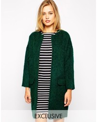 Asos Studio 4 London Cocoon Coat In Fluffy Wool With Zip Front