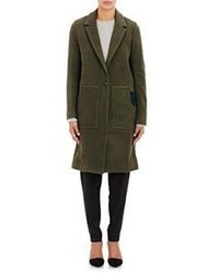 Alexander Wang T By Leather Accented Coat Green