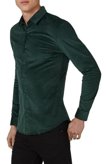90734bc6 ... Dark Green Corduroy Long Sleeve Shirts Topman Muscle Fit Corduroy Shirt