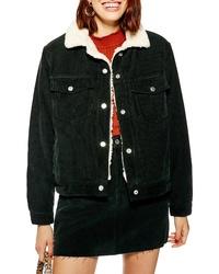 Topshop Cotton Corduroy Faux Shearling Jacket