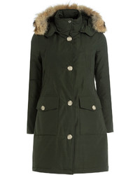 Long arctic down parka with fur trimmed hood medium 850460