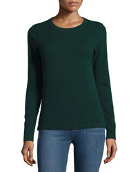 Neiman Marcus Cashmere Basic Pullover Sweater Green