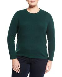 Neiman Marcus Cashmere Crewneck Sweater Holly Plus Size