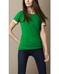 Check cuff cotton t shirt medium 25462