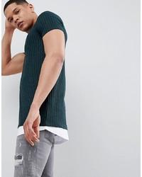 ASOS DESIGN Super Longline T Shirt In Twisted Rib In Bottle Green