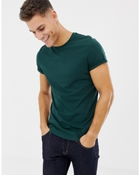 ASOS DESIGN T Shirt With Crew Neck And Roll Sleeve In Green
