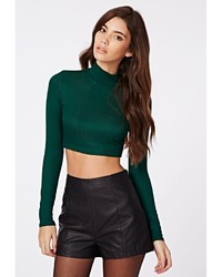 3439131dc ... Missguided Dharma Ribbed Turtle Neck Long Sleeve Crop Top Deep Green