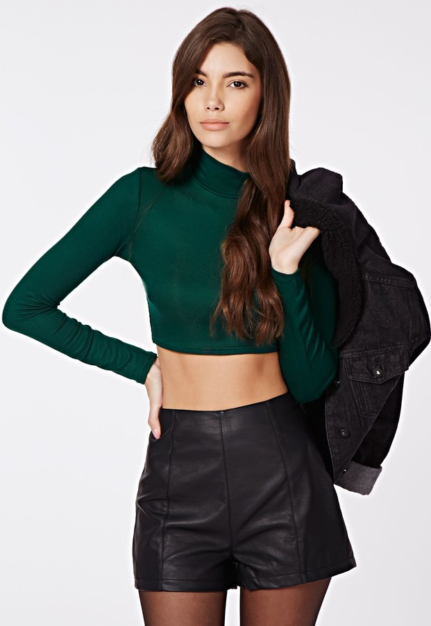 45d5376fe ... Dark Green Cropped Sweaters Missguided Dharma Ribbed Turtle Neck Long  Sleeve Crop Top Deep Green ...